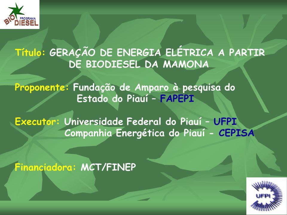 Título: GERAÇÃO DE ENERGIA ELÉTRICA A PARTIR DE BIODIESEL DA MAMONA Proponente: Fundação de Amparo à pesquisa do Estado do Piauí – FAPEPI Executor: Un