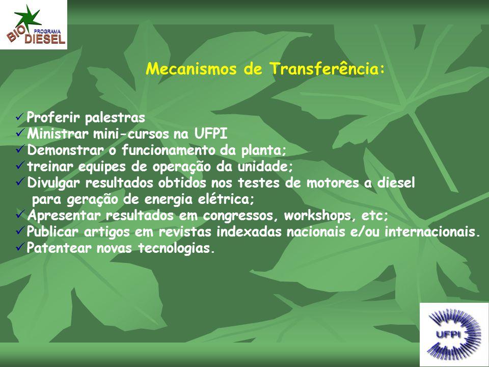 Mecanismos de Transferência:  Proferir palestras  Ministrar mini-cursos na UFPI  Demonstrar o funcionamento da planta;  treinar equipes de operaçã