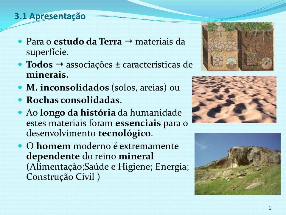 3.1 Apresentação  Para o estudo da Terra  materiais da superfície.
