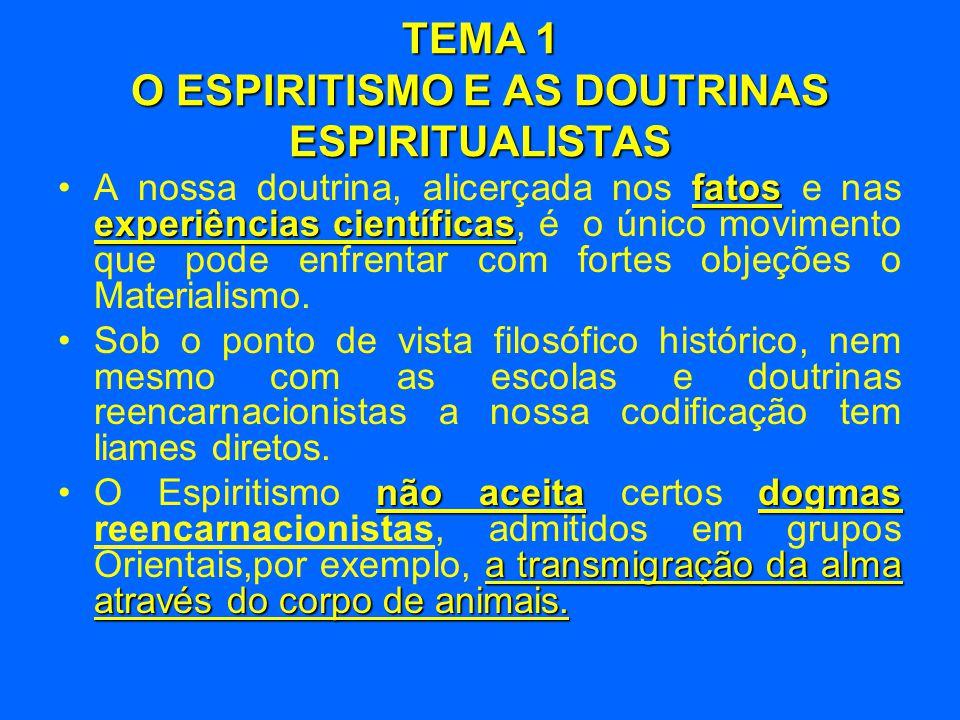 TEMA 1 O ESPIRITISMO E AS DOUTRINAS ESPIRITUALISTAS fatos experiências científicas •A nossa doutrina, alicerçada nos fatos e nas experiências científi