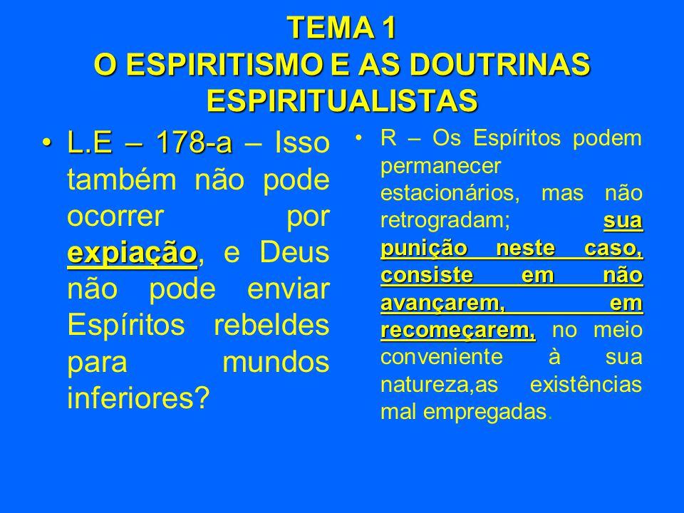 TEMA 1 O ESPIRITISMO E AS DOUTRINAS ESPIRITUALISTAS •L.E – 178-a expiação •L.E – 178-a – Isso também não pode ocorrer por expiação, e Deus não pode enviar Espíritos rebeldes para mundos inferiores.