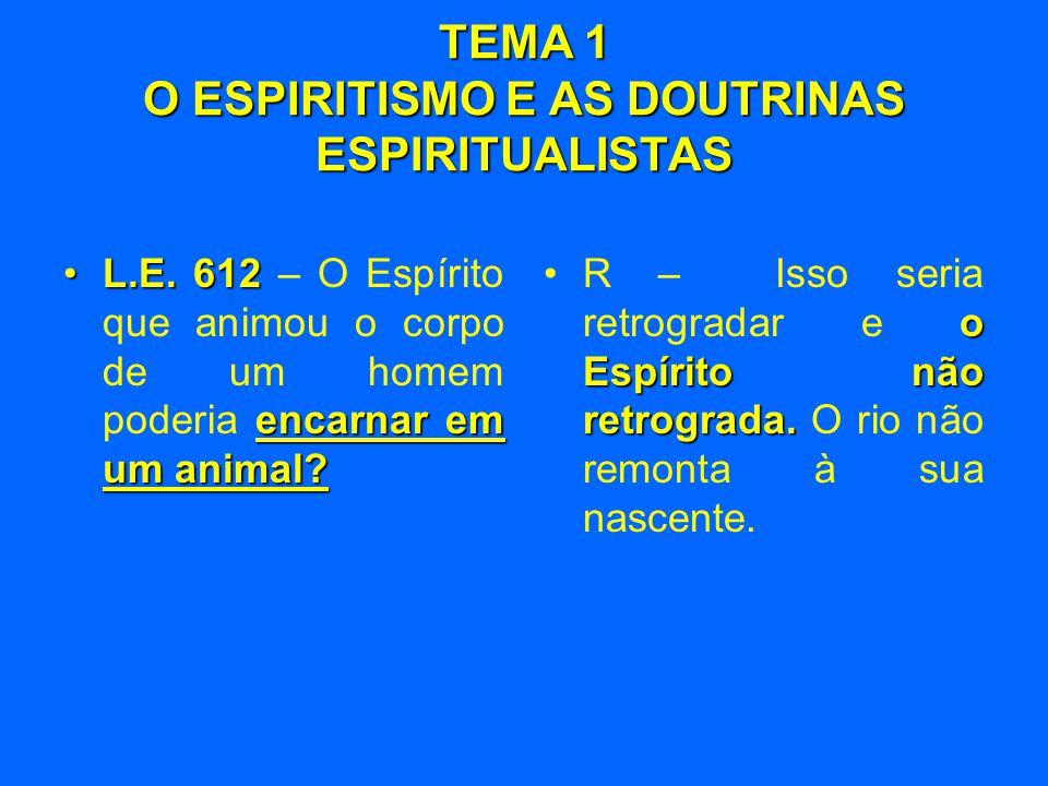 TEMA 1 O ESPIRITISMO E AS DOUTRINAS ESPIRITUALISTAS •L.E. 612 encarnar em um animal? •L.E. 612 – O Espírito que animou o corpo de um homem poderia enc