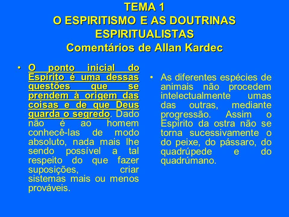 TEMA 1 O ESPIRITISMO E AS DOUTRINAS ESPIRITUALISTAS Comentários de Allan Kardec •O ponto inicial do Espírito é uma dessas questões que se prendem à or