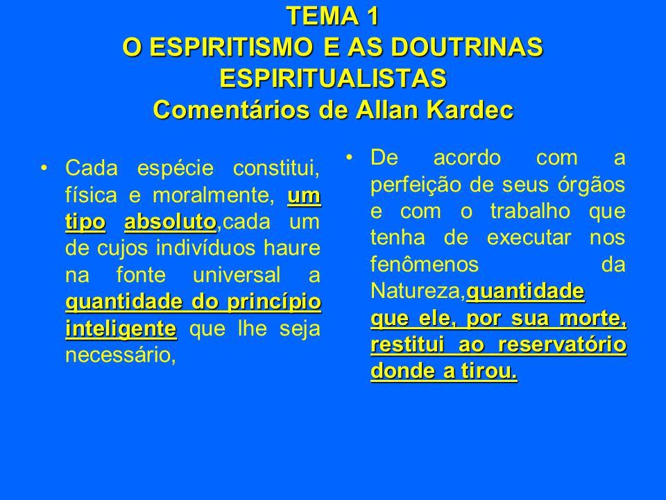 TEMA 1 O ESPIRITISMO E AS DOUTRINAS ESPIRITUALISTAS Comentários de Allan Kardec um tipoabsoluto quantidade do princípio inteligente •Cada espécie cons
