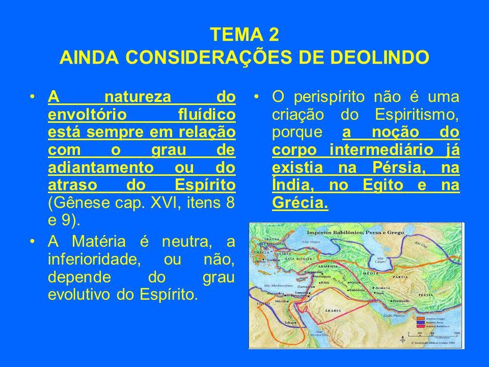 TEMA 2 AINDA CONSIDERAÇÕES DE DEOLINDO •A natureza do envoltório fluídico está sempre em relação com o grau de adiantamento ou do atraso do Espírito (