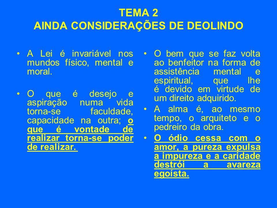 TEMA 2 AINDA CONSIDERAÇÕES DE DEOLINDO •A Lei é invariável nos mundos físico, mental e moral.