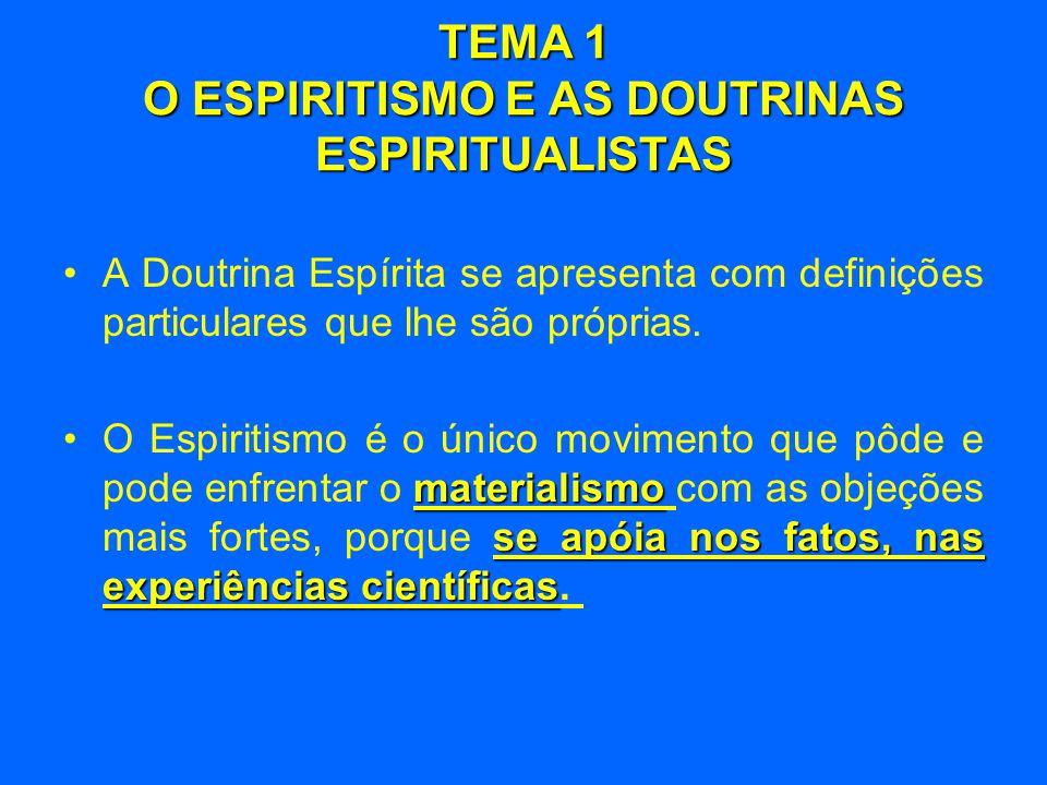 •A Doutrina Espírita se apresenta com definições particulares que lhe são próprias. materialismo se apóia nos fatos, nas experiências científicas •O E