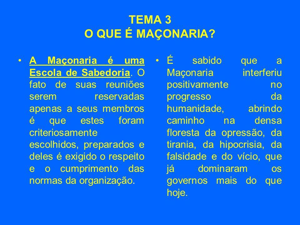 TEMA 3 O QUE É MAÇONARIA? •A Maçonaria é uma Escola de Sabedoria. O fato de suas reuniões serem reservadas apenas a seus membros é que estes foram cri