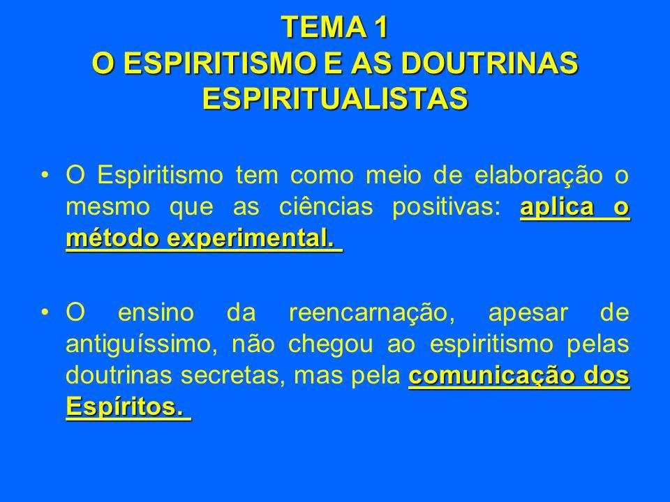 TEMA 1 O ESPIRITISMO E AS DOUTRINAS ESPIRITUALISTAS aplica o método experimental. •O Espiritismo tem como meio de elaboração o mesmo que as ciências p