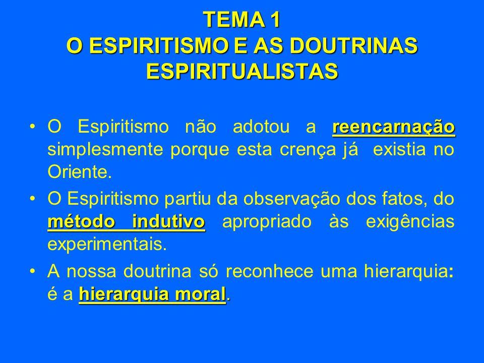 TEMA 1 O ESPIRITISMO E AS DOUTRINAS ESPIRITUALISTAS universal •A verdade é universal, mas nem todos podem percebê-la na mesma esfera de compreensão.