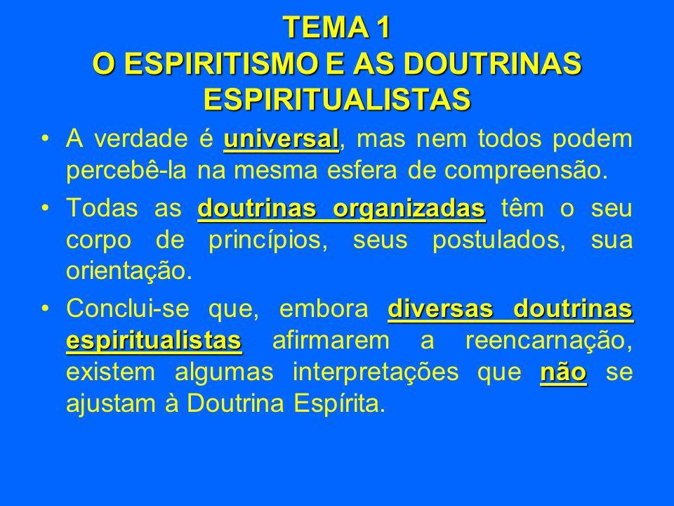 TEMA 1 O ESPIRITISMO E AS DOUTRINAS ESPIRITUALISTAS universalista •O Espiritismo é universalista, sem ter uma forma de sincretismo doutrinário ou religioso sem unidade nem consistência.