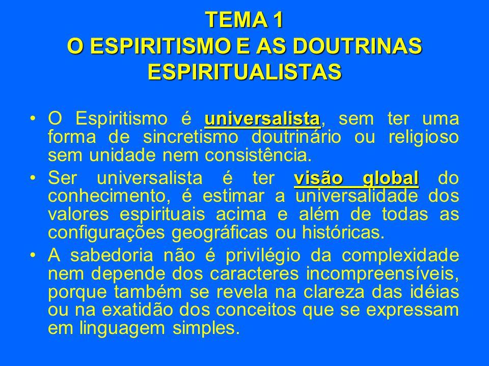 TEMA 1 O ESPIRITISMO E AS DOUTRINAS ESPIRITUALISTAS universalista •O Espiritismo é universalista, sem ter uma forma de sincretismo doutrinário ou reli