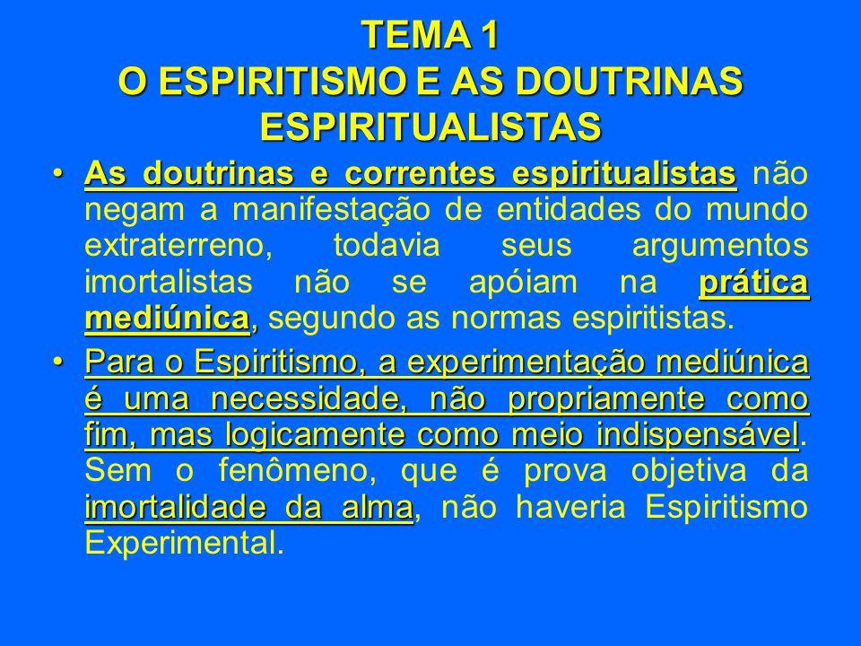 TEMA 1 O ESPIRITISMO E AS DOUTRINAS ESPIRITUALISTAS fatos experiências científicas •A nossa doutrina, alicerçada nos fatos e nas experiências científicas, é o único movimento que pode enfrentar com fortes objeções o Materialismo.
