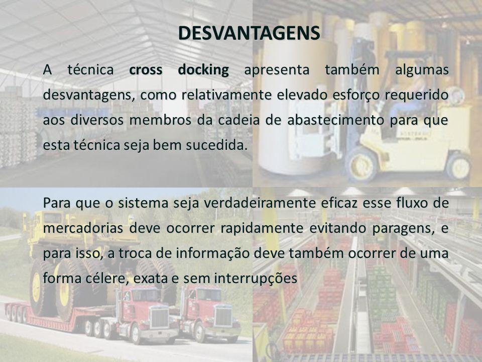 DESVANTAGENS A técnica cross docking apresenta também algumas desvantagens, como relativamente elevado esforço requerido aos diversos membros da cadei