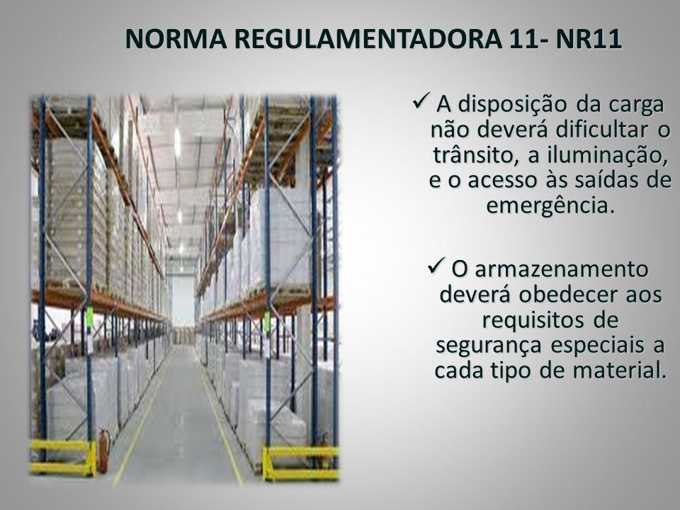 NORMA REGULAMENTADORA 11- NR11  A disposição da carga não deverá dificultar o trânsito, a iluminação, e o acesso às saídas de emergência.  O armazen