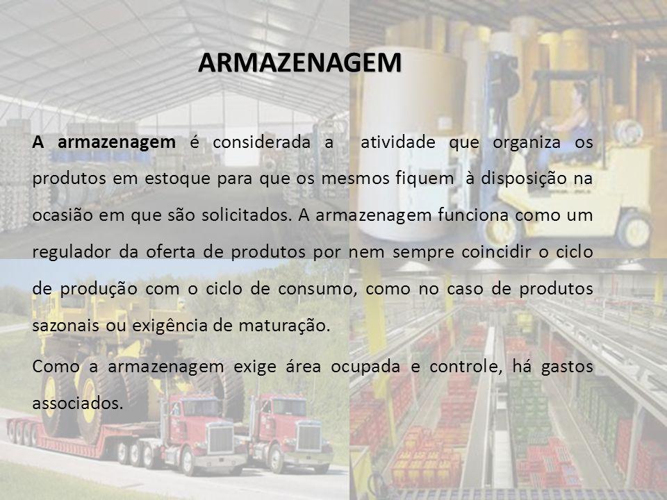 ARMAZENAGEM A armazenagem é considerada a atividade que organiza os produtos em estoque para que os mesmos fiquem à disposição na ocasião em que são s