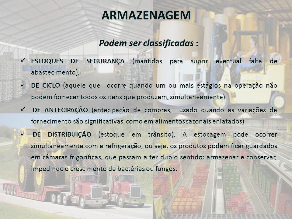 ARMAZENAGEM Podem ser classificadas :  ESTOQUES DE SEGURANÇA (mantidos para suprir eventual falta de abastecimento),  DE CICLO (aquele que ocorre qu