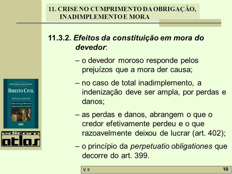 V. II 10 11. CRISE NO CUMPRIMENTO DA OBRIGAÇÃO, INADIMPLEMENTO E MORA 11.3.2. Efeitos da constituição em mora do devedor: – o devedor moroso responde