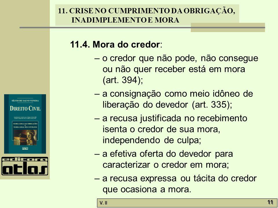 V. II 11 11. CRISE NO CUMPRIMENTO DA OBRIGAÇÃO, INADIMPLEMENTO E MORA 11.4. Mora do credor: – o credor que não pode, não consegue ou não quer receber