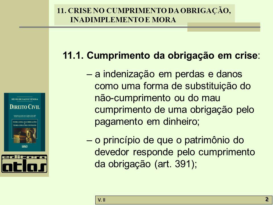 V.II 13 11. CRISE NO CUMPRIMENTO DA OBRIGAÇÃO, INADIMPLEMENTO E MORA 11.5.