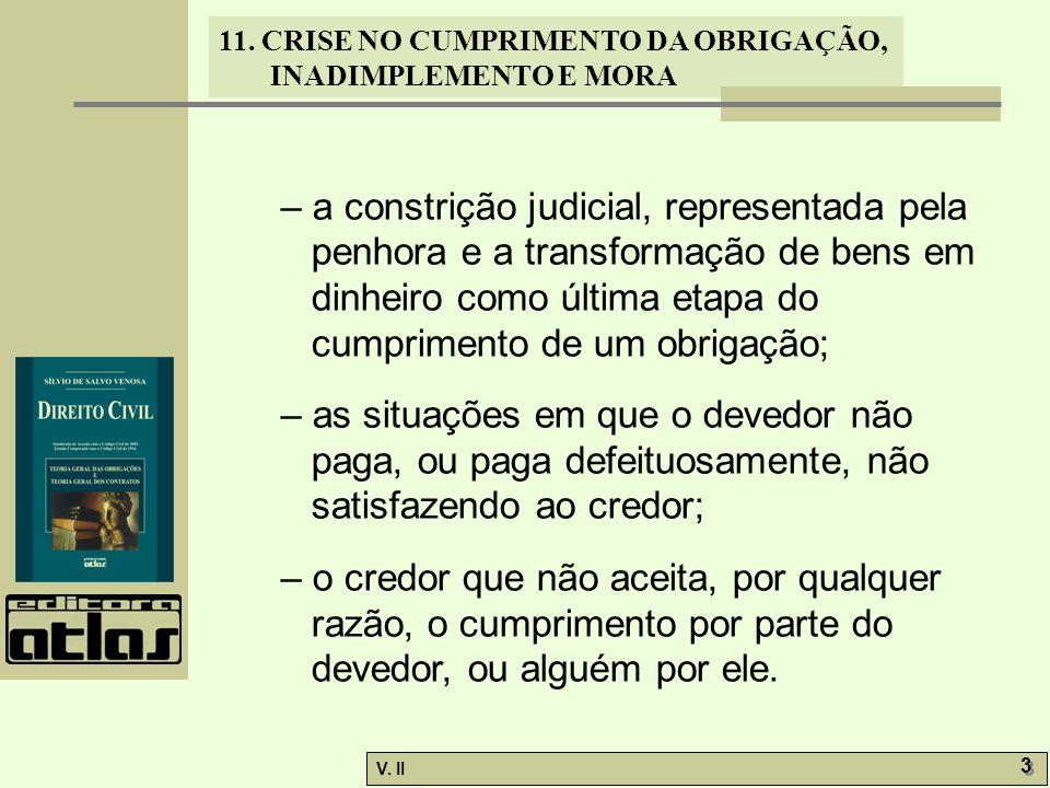 V. II 3 3 11. CRISE NO CUMPRIMENTO DA OBRIGAÇÃO, INADIMPLEMENTO E MORA – a constrição judicial, representada pela penhora e a transformação de bens em
