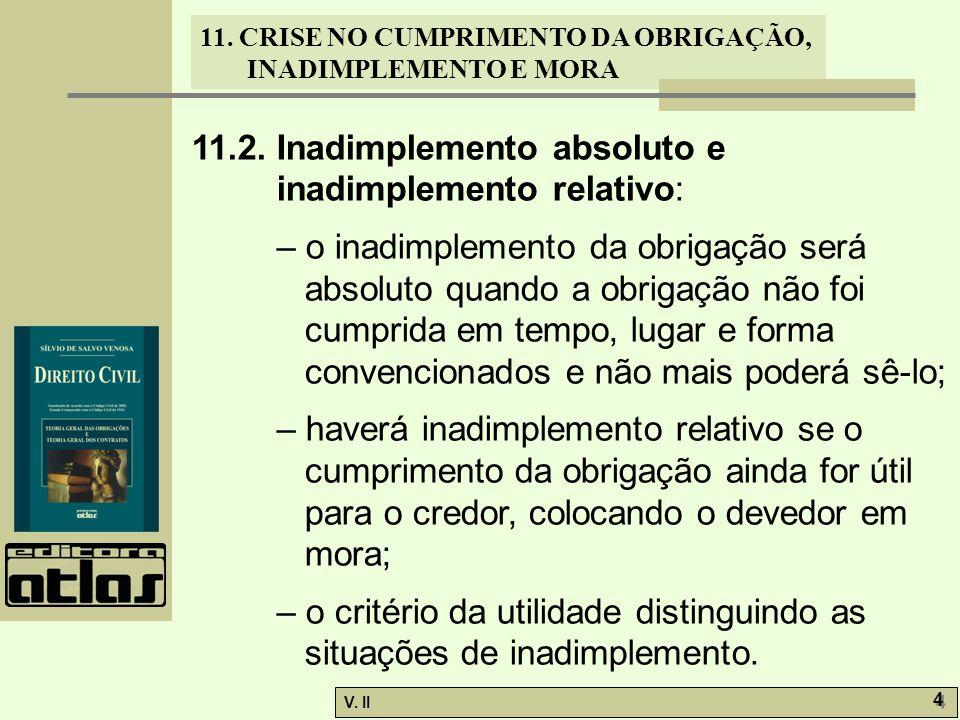 V. II 4 4 11. CRISE NO CUMPRIMENTO DA OBRIGAÇÃO, INADIMPLEMENTO E MORA 11.2. Inadimplemento absoluto e inadimplemento relativo: – o inadimplemento da