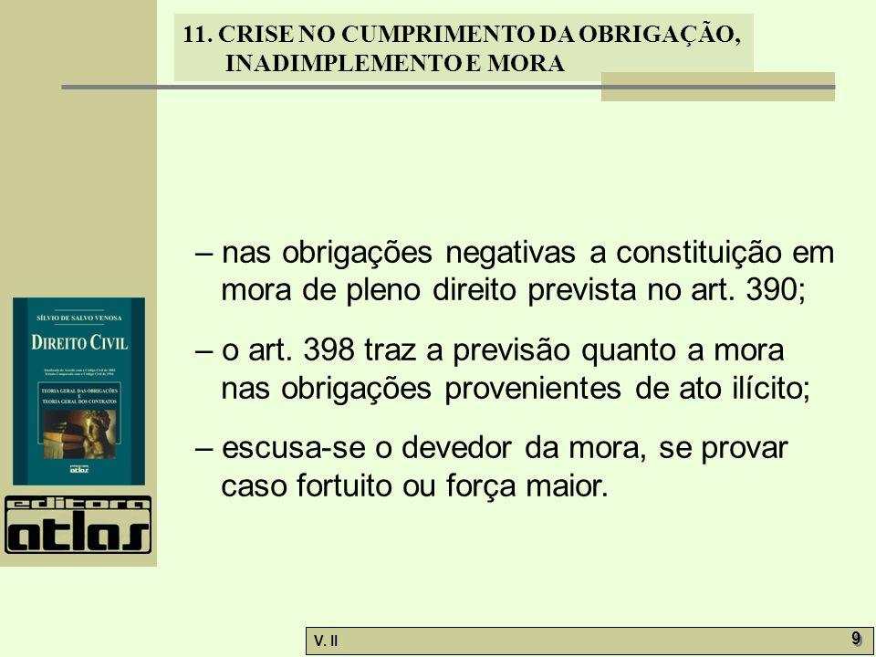 V. II 9 9 11. CRISE NO CUMPRIMENTO DA OBRIGAÇÃO, INADIMPLEMENTO E MORA – nas obrigações negativas a constituição em mora de pleno direito prevista no