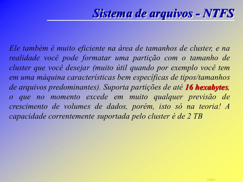 Voltar Sistema de arquivos - NTFS NTFS NTFS significa NT File System (sistema de arquivos do NT, onde NT originalmente significava New Tecnhology). Su