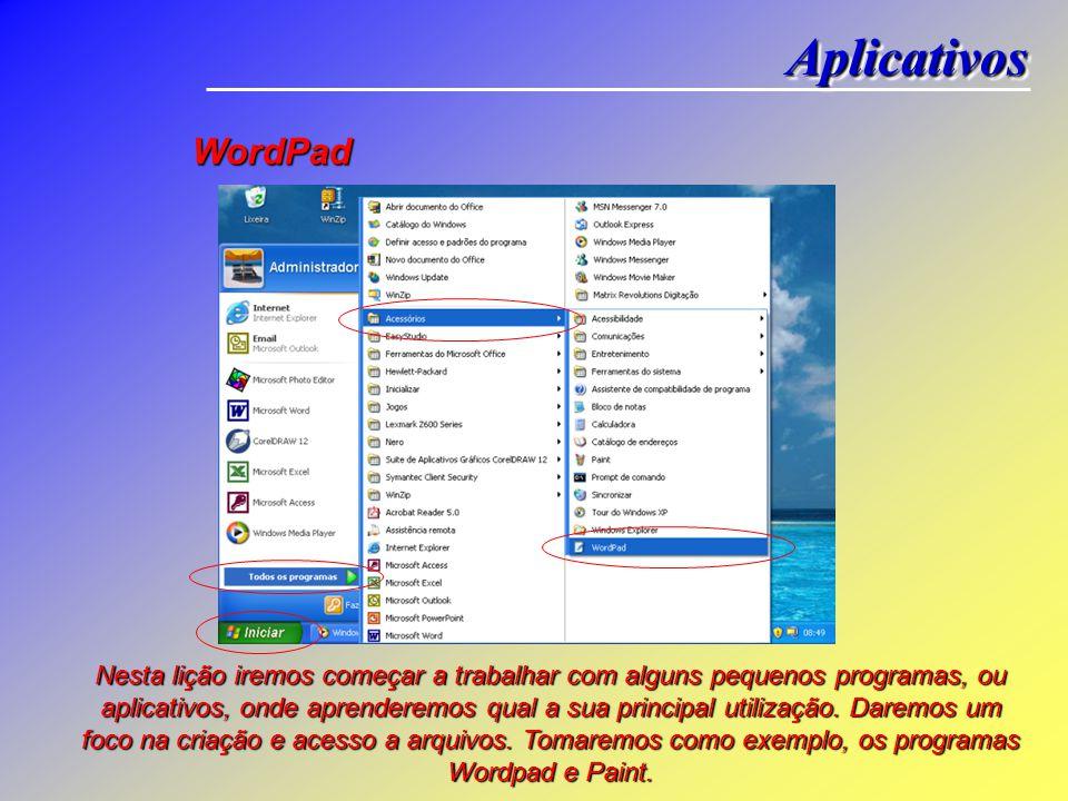 WordPad Nesta lição iremos começar a trabalhar com alguns pequenos programas, ou aplicativos, onde aprenderemos qual a sua principal utilização.