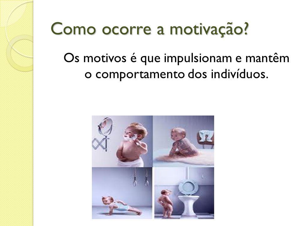 Como ocorre a motivação? Os motivos é que impulsionam e mantêm o comportamento dos indivíduos.