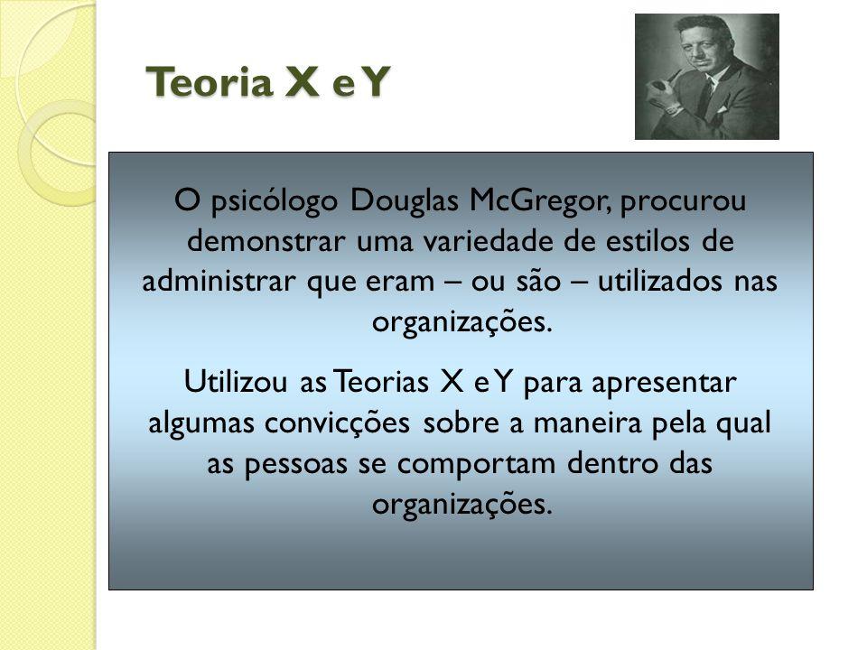 Teoria X e Y O psicólogo Douglas McGregor, procurou demonstrar uma variedade de estilos de administrar que eram – ou são – utilizados nas organizações.