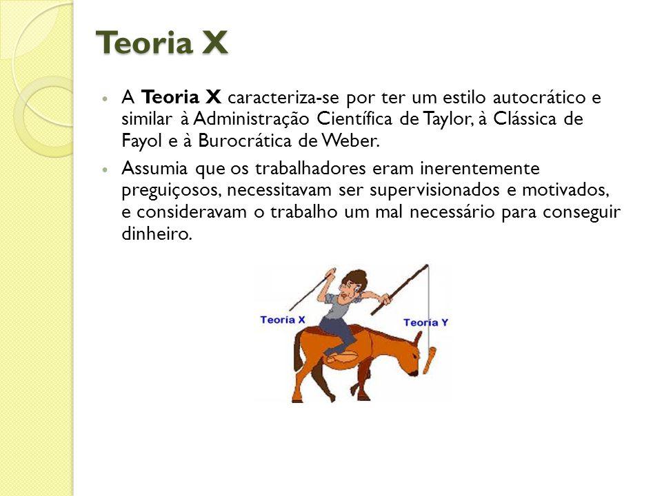 Teoria X  A Teoria X caracteriza-se por ter um estilo autocrático e similar à Administração Científica de Taylor, à Clássica de Fayol e à Burocrática de Weber.