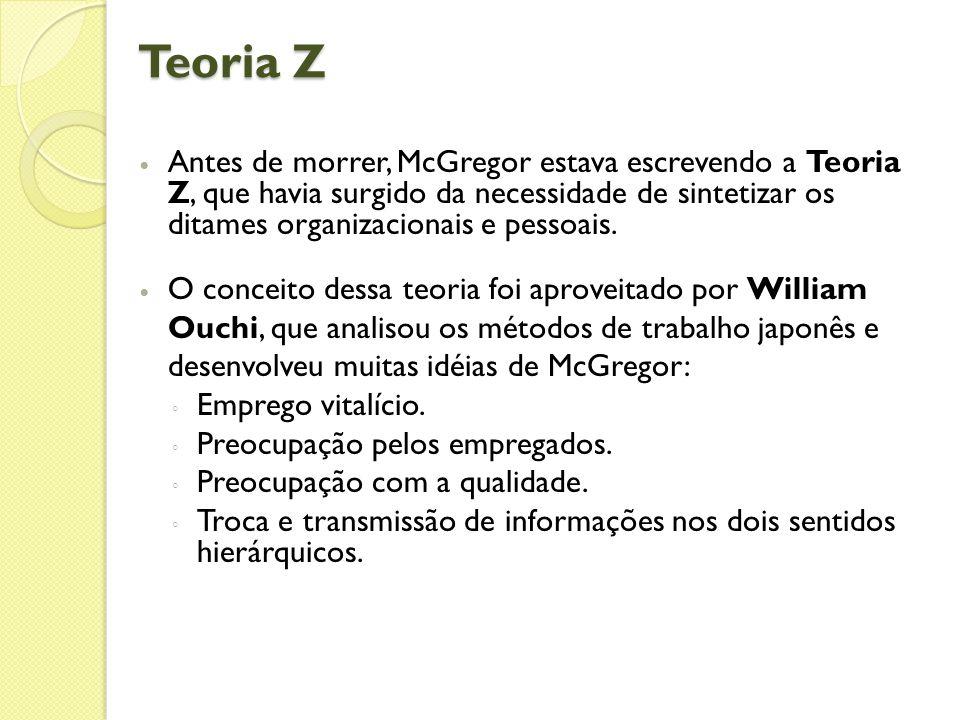 Teoria Z  Antes de morrer, McGregor estava escrevendo a Teoria Z, que havia surgido da necessidade de sintetizar os ditames organizacionais e pessoais.