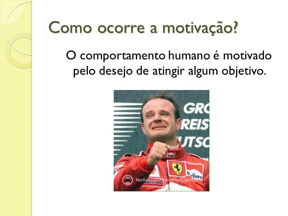Como ocorre a motivação? O comportamento humano é motivado pelo desejo de atingir algum objetivo.