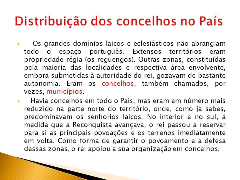  Os grandes domínios laicos e eclesiásticos não abrangiam todo o espaço português. Extensos territórios eram propriedade régia (os reguengos). Outras