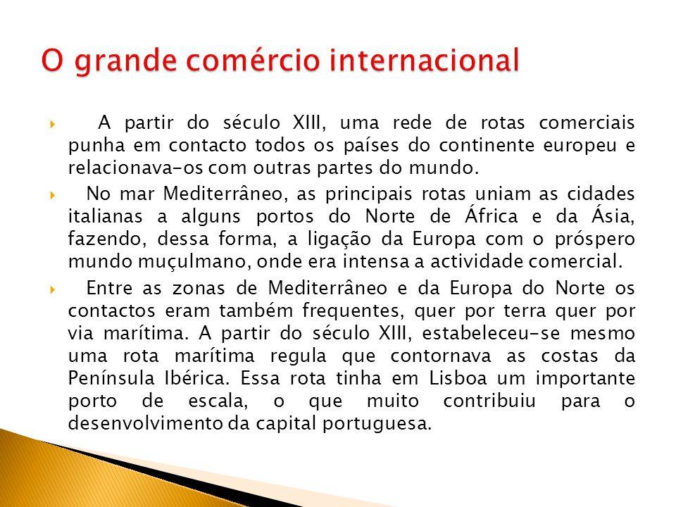  A partir do século XIII, uma rede de rotas comerciais punha em contacto todos os países do continente europeu e relacionava-os com outras partes do