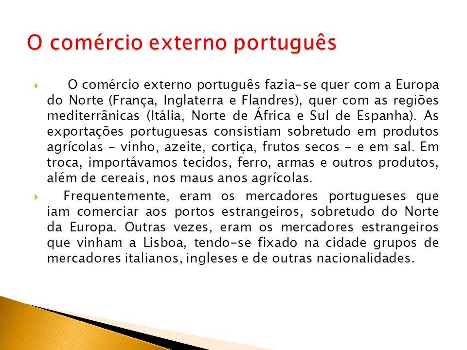  O comércio externo português fazia-se quer com a Europa do Norte (França, Inglaterra e Flandres), quer com as regiões mediterrânicas (Itália, Norte