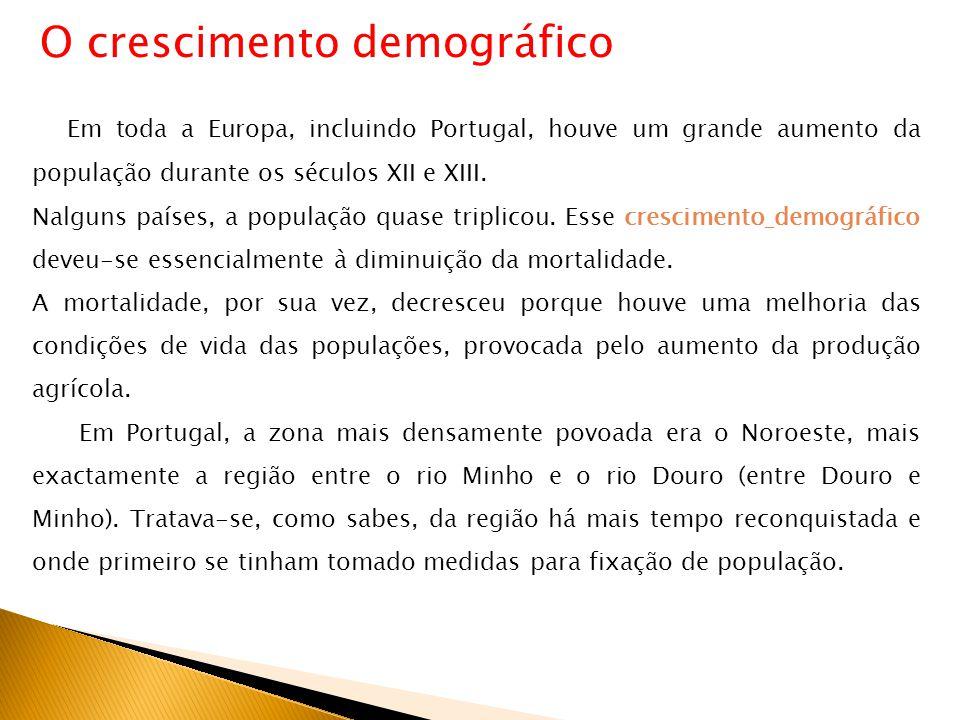 Em toda a Europa, incluindo Portugal, houve um grande aumento da população durante os séculos XII e XIII. Nalguns países, a população quase triplicou.