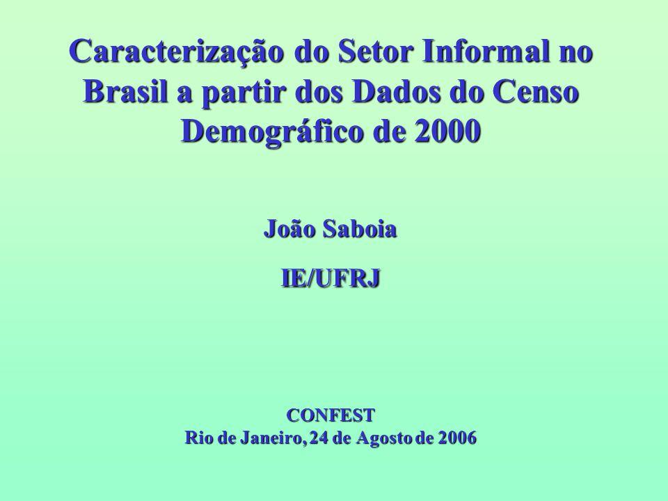 Caracterização do Setor Informal no Brasil a partir dos Dados do Censo Demográfico de 2000 João Saboia IE/UFRJ CONFEST Rio de Janeiro, 24 de Agosto de 2006