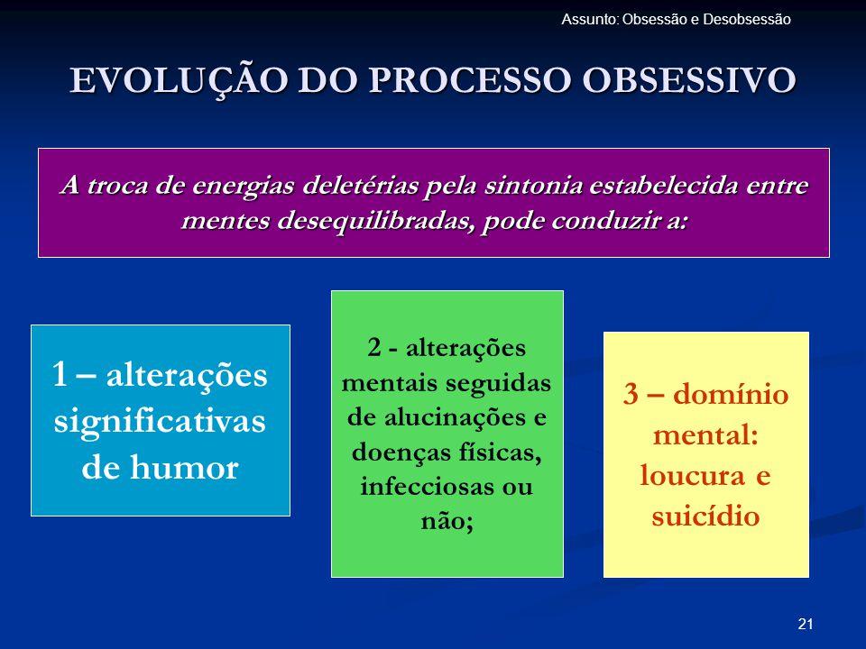22 Assunto: Obsessão e Desobsessão DESEQUILÍBRIOS MENTAIS  Distúrbios orgânicos;  Esquizofrenia;  Distúrbios afetivos;  Distúrbios de ansiedade;  Distúrbios dissociativos;  Distúrbios da personalidade;  Distúrbios mentais da infância.