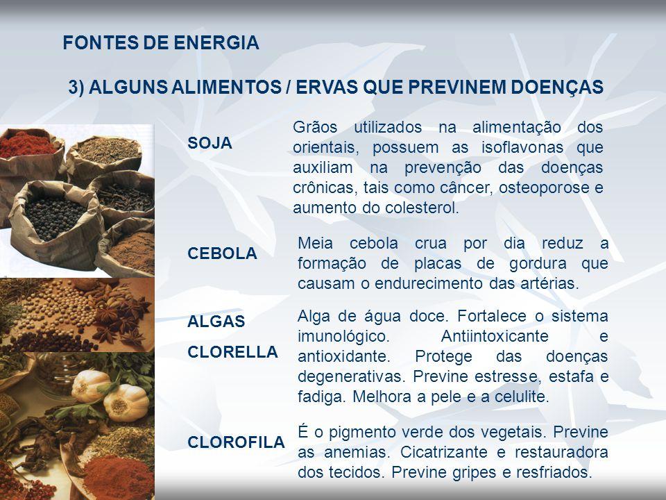 FONTES DE ENERGIA 3) ALGUNS ALIMENTOS / ERVAS QUE PREVINEM DOENÇAS SOJA Grãos utilizados na alimentação dos orientais, possuem as isoflavonas que auxi