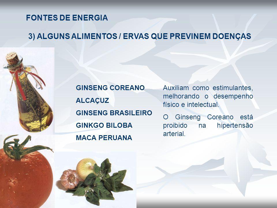 FONTES DE ENERGIA 3) ALGUNS ALIMENTOS / ERVAS QUE PREVINEM DOENÇAS GINSENG COREANO ALCAÇUZ GINSENG BRASILEIRO GINKGO BILOBA MACA PERUANA Auxiliam como