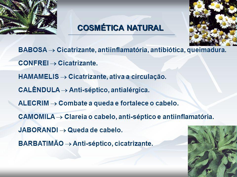 COSMÉTICA NATURAL BABOSA  Cicatrizante, antiinflamatória, antibiótica, queimadura. CONFREI  Cicatrizante. HAMAMELIS  Cicatrizante, ativa a circulaç
