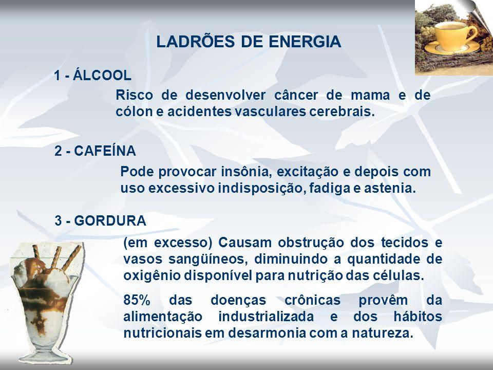 LADRÕES DE ENERGIA 1 - ÁLCOOL Risco de desenvolver câncer de mama e de cólon e acidentes vasculares cerebrais. 2 - CAFEÍNA Pode provocar insônia, exci