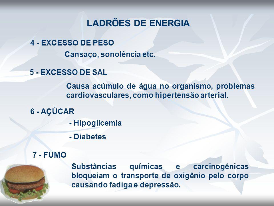 FONTES DE ENERGIA 1) EXERCÍCIOS • Diminui os níveis de colesterol LDL e aumenta o HDL • Favorecem o controle da obesidade e hipertensão arterial • Aumenta a sensibilidade do organismo à insulina • Combate o estresse e depressão.