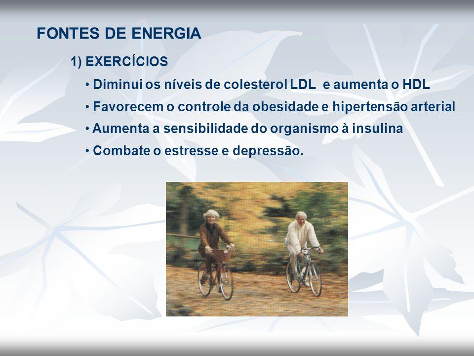 FONTES DE ENERGIA 1) EXERCÍCIOS • Diminui os níveis de colesterol LDL e aumenta o HDL • Favorecem o controle da obesidade e hipertensão arterial • Aum