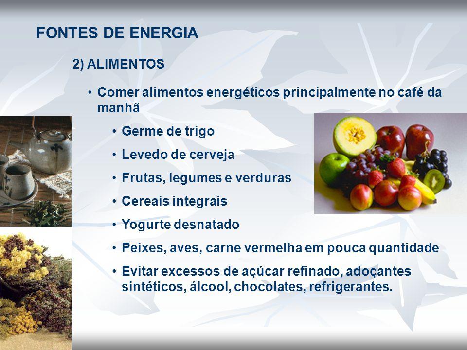 FONTES DE ENERGIA 2) ALIMENTOS •Comer alimentos energéticos principalmente no café da manhã •Germe de trigo •Levedo de cerveja •Frutas, legumes e verd