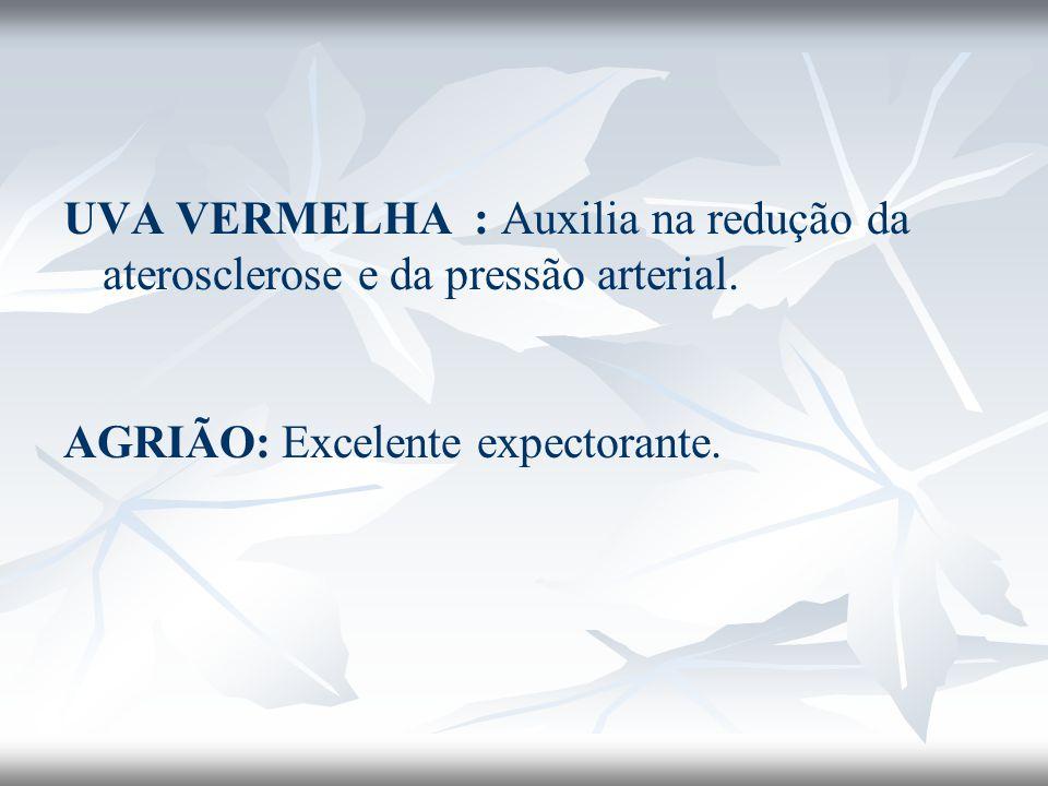 UVA VERMELHA : Auxilia na redução da aterosclerose e da pressão arterial. AGRIÃO: Excelente expectorante.