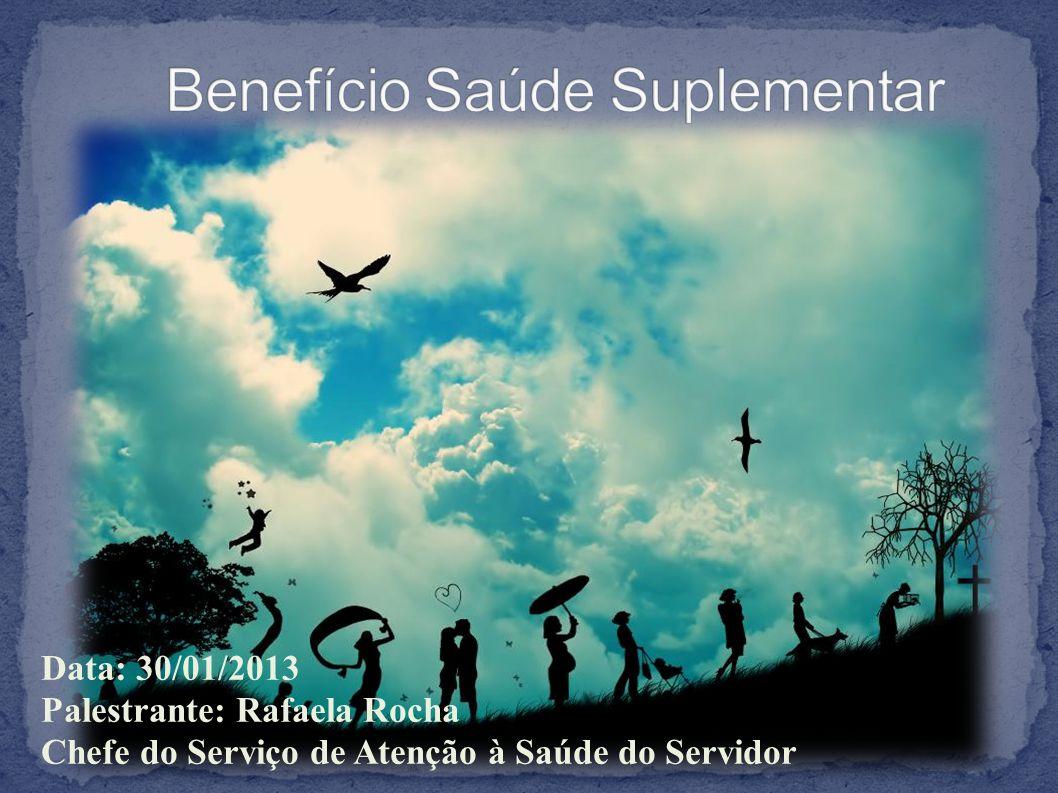 Data: 30/01/2013 Palestrante: Rafaela Rocha Chefe do Serviço de Atenção à Saúde do Servidor