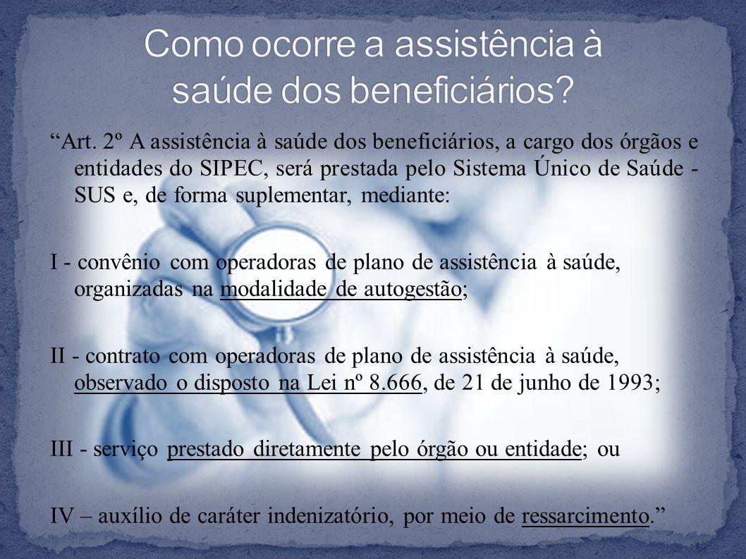 """""""Art. 2º A assistência à saúde dos beneficiários, a cargo dos órgãos e entidades do SIPEC, será prestada pelo Sistema Único de Saúde - SUS e, de forma"""
